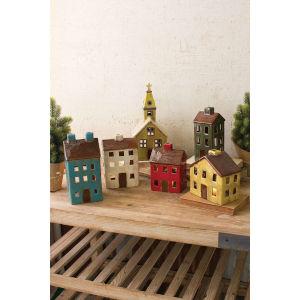 Multi-Colored Ceramic Village Decorative Object, Set of 6