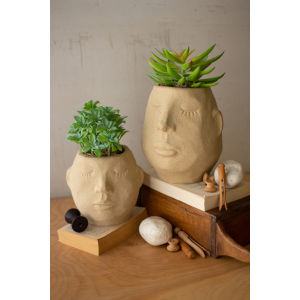 Multi-Colored Ceramic Face Planter, Set of 2
