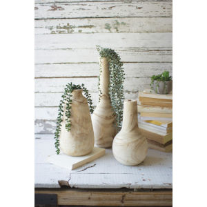 Beige Hand Carved Tall Wooden Vase, Set of Three