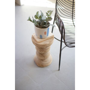 Natural Hand-Carved Wooden Stool