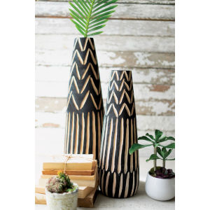 Black Wooden Vase with Carving, Set of Two
