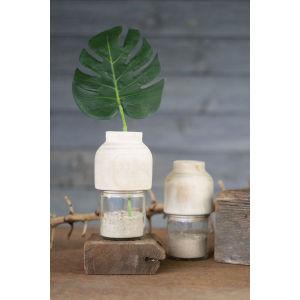 Beige Hand Carved Wooden Bud Vase
