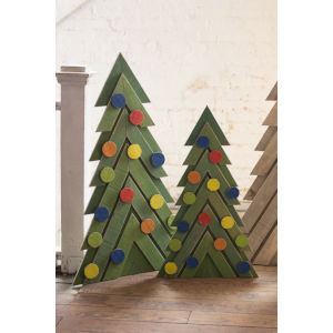 Green Wooden Christmas Tree, Set of 2