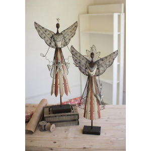 Multicolor Angel Figurine, Set of 2