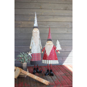 Multicolor Metal Santa with Beard Figurine, Set of 2