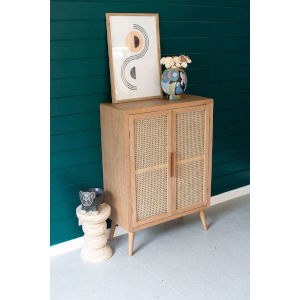 Natural Two Woven Cane Door Cabinet