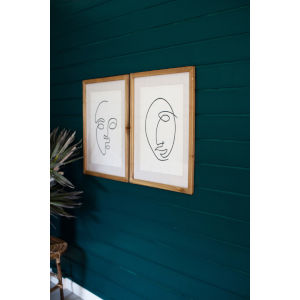 Multi-Colored Face Print Under Glass Wall Art, Set of 2