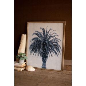 Navy Blue Palm Tree Print Under Glass Wall Art