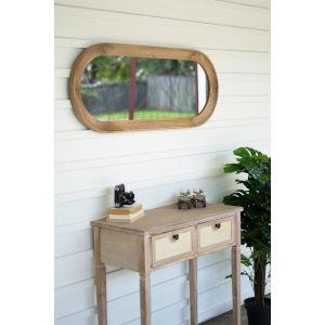 Rattan Wood Oval Wood Framed Mirror