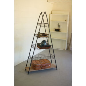 Silver A Frame Tower with Wire Baskets and Wooden Shelf