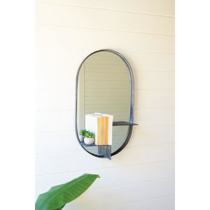 Gray Oval Mirror with Tiered Shelf