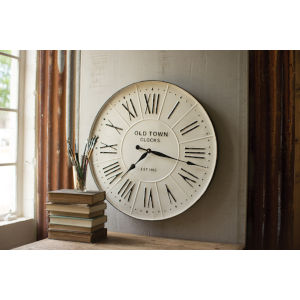 White and Black Enamelled Wall Clock