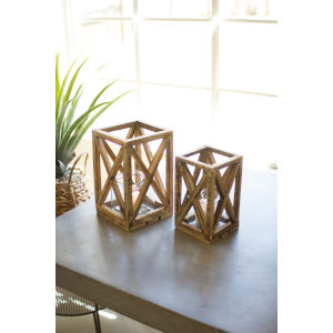 Natural Recycled Wooden Candle Lantern with Glass Insert, Set of 2