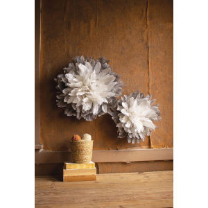White Wood Feathers Wall Decor, Set of Two