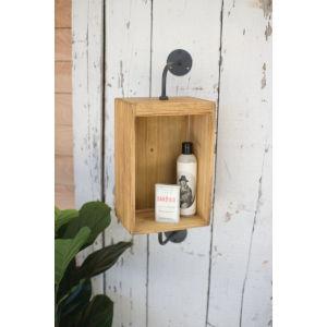 Natural Wood and Metal 8-Inch Wall Mirror