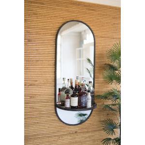 Raw Metal 18-Inch Tall Oval Wall Mirror With Folding Metal Shelf