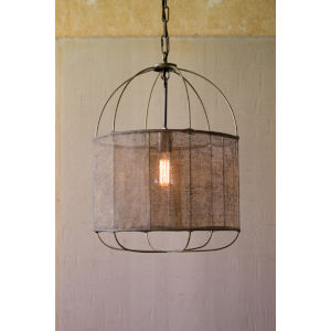 Metal Pendant Light with Fabric Shade