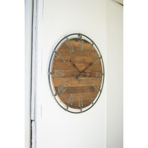Brown Wall Clock with Metal Frame