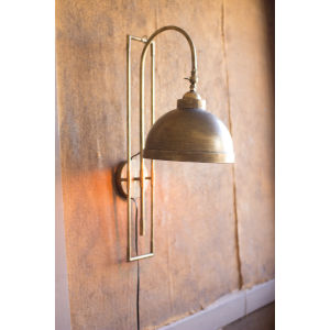 Antique Gold One-Light Metal Wall Light With Antique Brass Finish