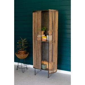 Natural Fir and Metal Two Door Cabinet