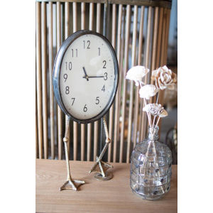 Antique Brass Table Clock with Duck Feet