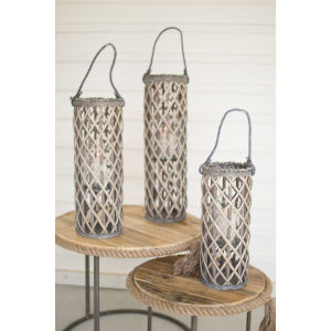 Gray Willow Lanterns with Glass, Set of Three