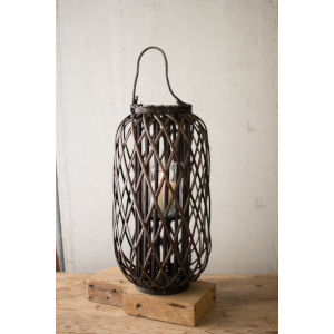 Willow Dark Brown 12-Inch Candle Lantern with Glass
