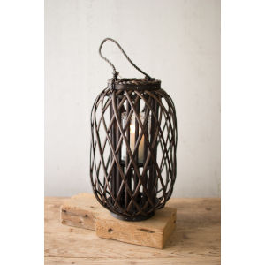 Willow Dark Brown 11-Inch Candle Lantern with Glass