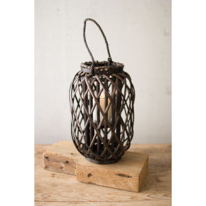 Willow Dark Brown 9-Inch Candle Lantern with Glass