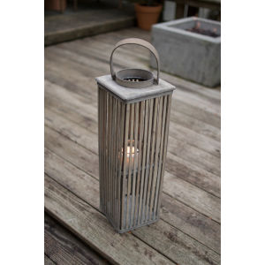 Natural 23-Inch Square Bamboo Candle Lantern with Glass