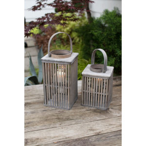 Natural Square Bamboo Candle Lantern with Glass, Set of 2