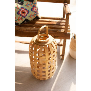 Natural Chipwood 23-Inch Candle Lantern with Glass Insert