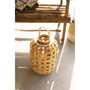 Natural Chipwood 18-Inch Candle Lantern with Glass Insert