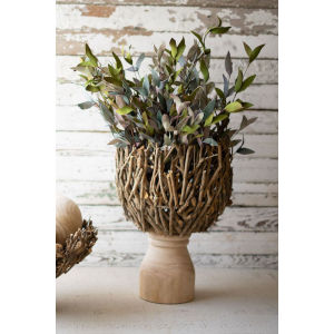 Beige and Natural Root Compote with Turned Wood Nase