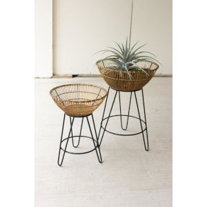 Beige Round Bamboo Basket on Metal Stand, Set of Two