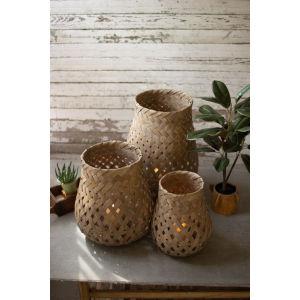 Natural Bamboo Basket, Set of 3