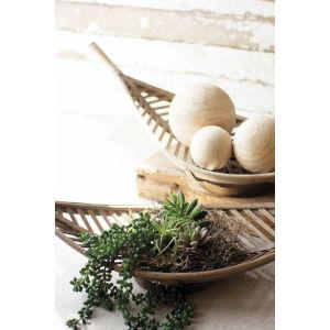 Rattan Wood Bambook Leaf Basket, Set of Two