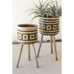 Black and Natural Woven Plant Stand with Wood Leg, Set of Two