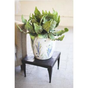 Blue Glazed Hand Painted Ceramic Vase