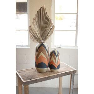 Tan and Brown Ceramic Vase, Set of 2
