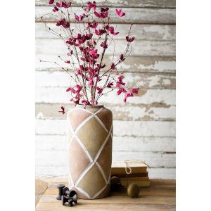 Beige Ceramic Vase with Grid