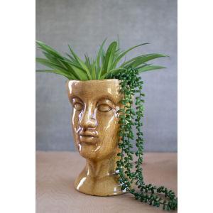 Tan Ceramic Head Planter