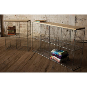 Brown Eight Cubby Console with Wooden Top