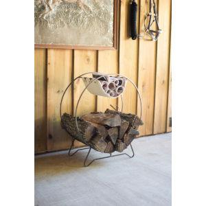 Brown Round Log Holder with Canvas Kindling Sling