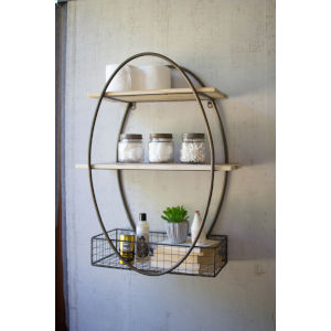 Brown and Metal Tall Oval Framed Wall Unit with Recycled Wood Shelves