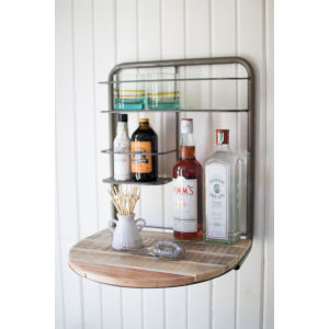 Brown and Metal Drop Leaf and Recycled Wood Bar Shelf