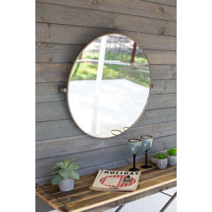 Brown and Metal Framed Tilted Round Mirror