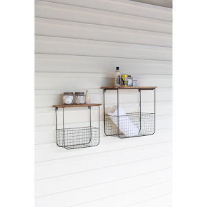 Brown and Metal Wire Basket Shelves With Recycled Wood Tops, Set of Two