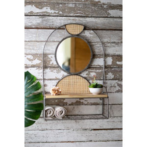 Brown Metal Wall Shelf Mirror Recy Wood Shelf Rattan Detail