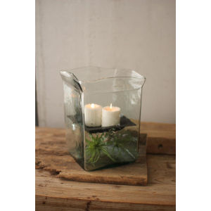 Green Square Hurricane Candle Holder